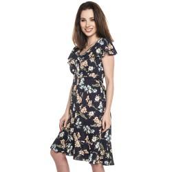 Letní těhotenské a kojící šaty KYLIE - tmavě modré s velkými květy