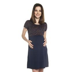 Těhotenské a kojící šaty TILLA - modrá hnědý puntík KR