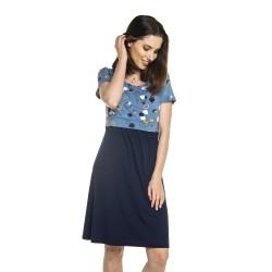 Těhotenské a kojící šaty TILLA - tmavě modrá s modrou