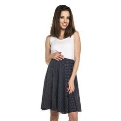 Těhotenské a kojící šaty SILVIA - bílá s tmavě modrou sukní