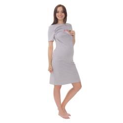Těhotenská a kojící noční košile ELEN - šedá