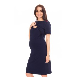 Těhotenská a kojící noční košile ELEN - tmavě modrá