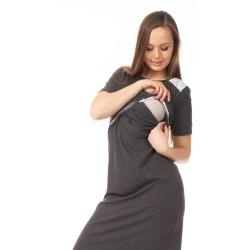 Těhotenská a kojící noční košile ELEN - grafit