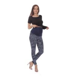 Exkluzivní těhotenské legíny SANDRA dlouhé - vzor tm. modrá