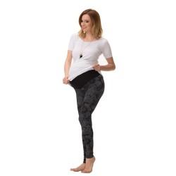 Exkluzivní těhotenské legíny DIANA dlouhé - černá se vzorem