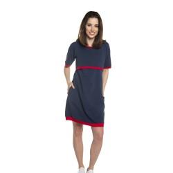 Těhotenské a kojící šaty LYNN - tmavě modrá červená