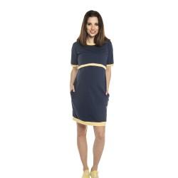 Těhotenské a kojící šaty LYNN - tmavě modrá žlutá