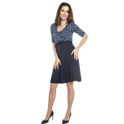 Těhotenské a kojící šaty ROXANE - modrá s květy