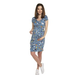 Těhotenské a kojící šaty BLUFI - KR světle modrá kroužky