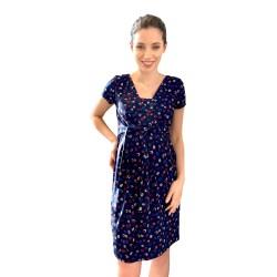 Těhotenské a kojící šaty BLUFI - KR tmavě modrá kroužky