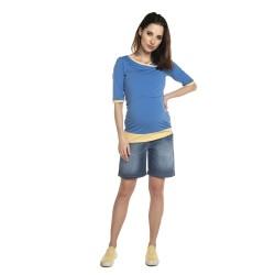 Těhotenská a kojící halenka MONIC - KR modrá žlutá
