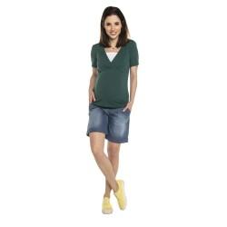 Těhotenská a kojící halenka SIMONE - KR smaragd vzor