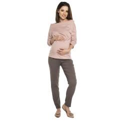 Těhotenské volnočasové kalhoty DAFFY - tmavě béžová