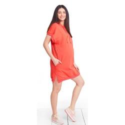 Těhotenské a kojící šaty MIMI CORAL DRESS - oranžová