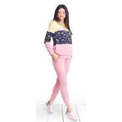 Těhotenská a kojící mikina PASTEL SUMMER - růžová
