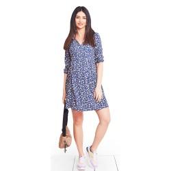 Letní těhotenské a kojící šaty BOTANICA SPRING - modrá