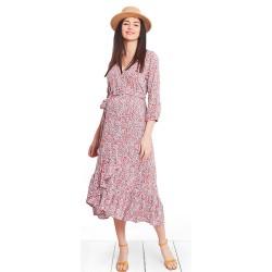 Zavinovací letní šaty ROMA DRESS - červený vzor