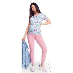 Těhotenská a kojící halenka PARADISE - růžovo modrá