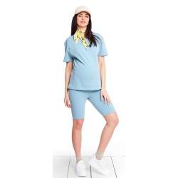 Těhotenské legíny krátké - BIKE BABY BLUE