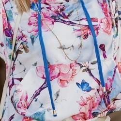 Tunika s květinovým vzorem - růžovo bílá se zlatými lemy
