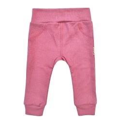 Kojenecké kalhoty z žebrovaného úpletu - růžová