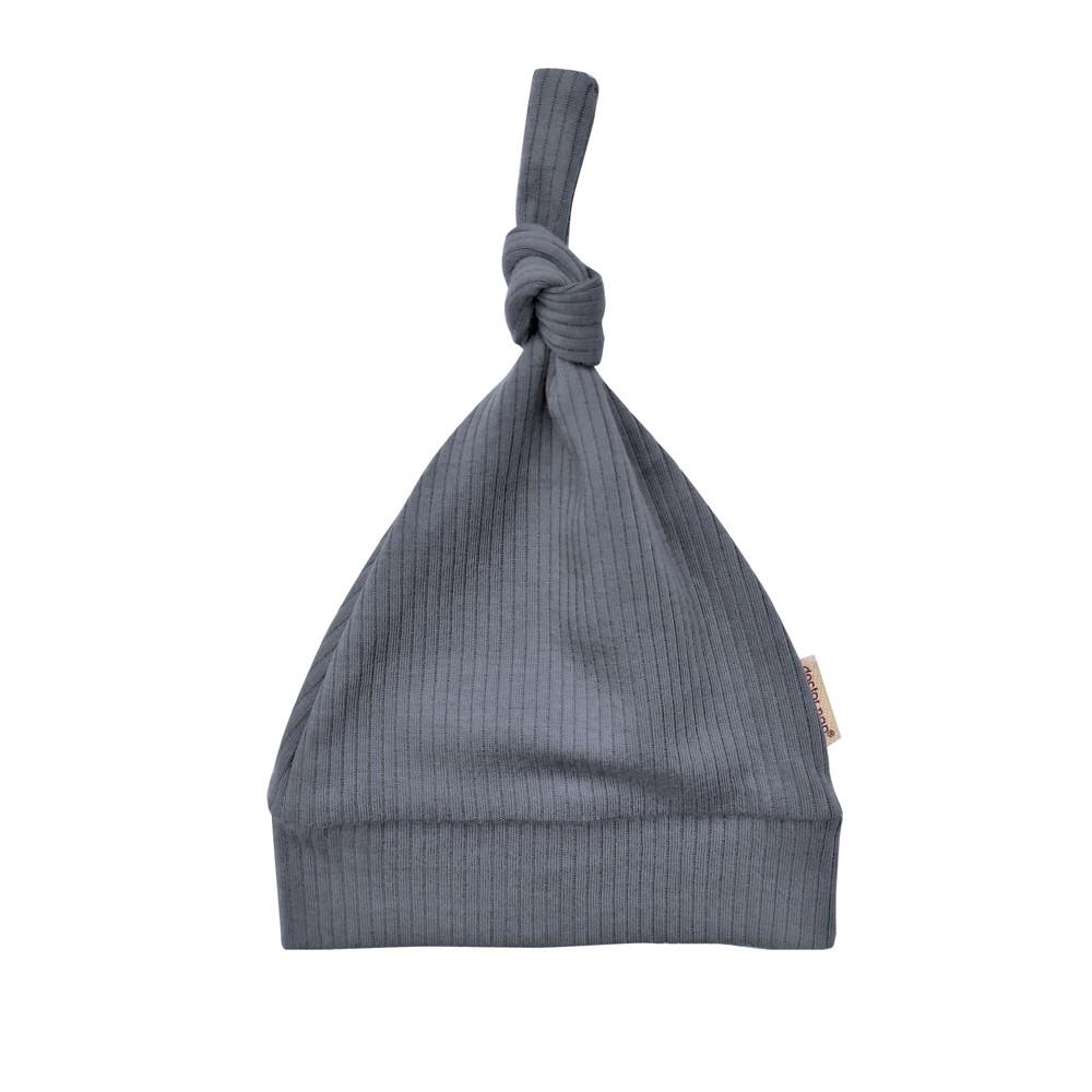 Kojenecká čepička z žebrovaného úpletu - tmavě šedá