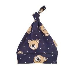Kojenecká čepička s medvídky - BIO bavlna