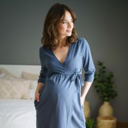 Těhotenský zavinovací župan - šedo modrá