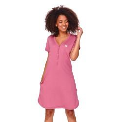Kojící noční košile z žebrovaného úpletu - růžová