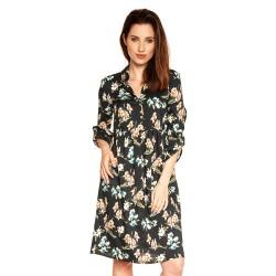 Těhotenské a kojící šaty Paloma - tmavě modrá s květy