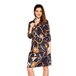 Těhotenské a kojící šaty Paloma - tmavě modrá zlatý vzor