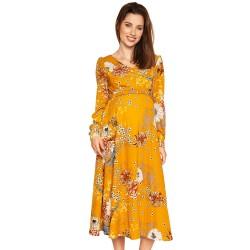 Těhotenské a kojící midi šaty RIONA - mustard