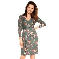 Těhotenské a kojící šaty BLUFI s dlouhým rukávem - zelená s květy