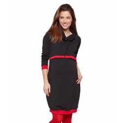 Sportovní těhu a kojící šaty BONA - černá s červenými lemy