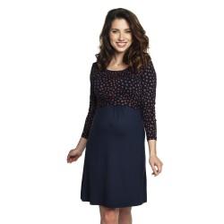 Těhotenské a kojící šaty TILLA dlouhý rukáv - modrá s hnědým puntíkem