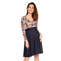Těhotenské a kojící šaty Roxane dlouhý rukáv - meruňková vzor