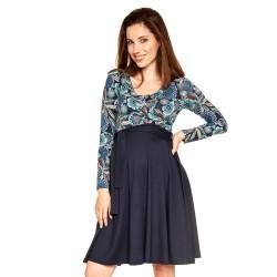 Těhotenské a kojící šaty Roxane dlouhý rukáv - tyrkys vzor