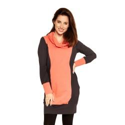 Úpletové těhu a kojící šaty NELLA - graphite orange