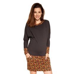 Těhotenské a kojící šaty ANDREA - graphite orange