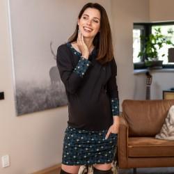 Těhotenské a kojící šaty ANDREA - graphite blue