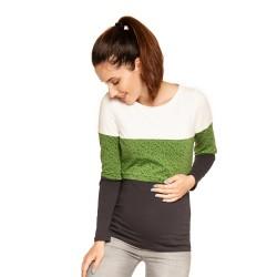 Těhotenská a kojící halenka TUPI dlouhý rukáv - green