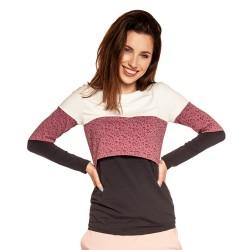 Těhotenská a kojící halenka TUPI dlouhý rukáv - pink