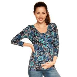 Těhotenská a kojící halenka RIVA dlouhý rukáv - modrá s květy