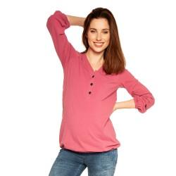 Těhotenská a kojící halenka FLORA - tmavě růžová