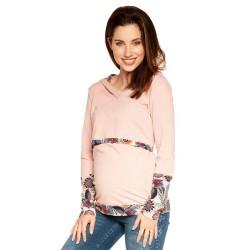 Těhotenská a kojící mikina FIBI - světle růžová