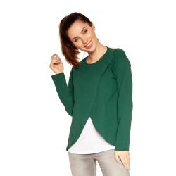 Těhotenská a kojící halenka LAVIS dlouhý rukáv - zelená
