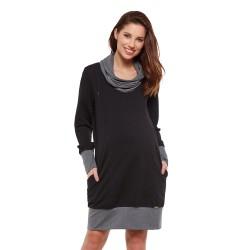 Těhotenská a kojící tunika NELLA - černá a šedá
