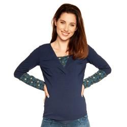 Těhotenská a kojící halenka SIMONE dlouhý rukáv - dark blue and blue