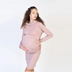 Těhotenská a kojící mikina LAURA - starorůžová
