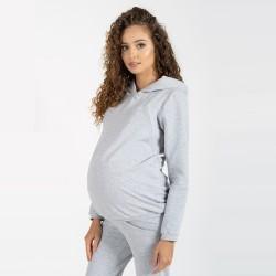 Těhotenská a kojící mikina MARGO - světle šedá